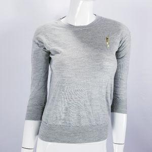 J. Crew Merino Wool Sweater Light Knit Gray Sz XS